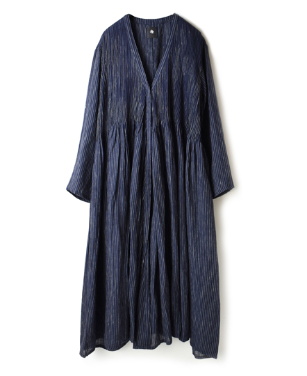 NMDS19024 POWER LOOM LINEN STRIPE WRAP DRESS