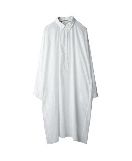 NSL16542 COTTON VOILE GATHERED LONG SHIRTS
