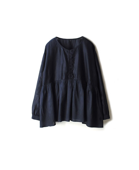 NMDS19541 HAND WOVEN COTTON SILK GATHERED SHIRT