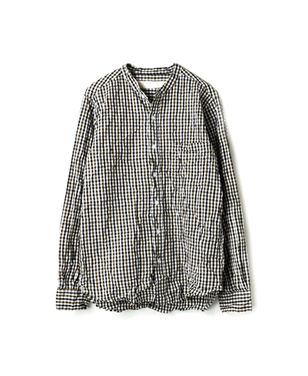 NVL1601CW GINGHAM CHECK BANDED COLLAR SHIRT