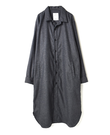NHT1773WP WOOL PLAIN WORK BUTTON LONG SHIRT