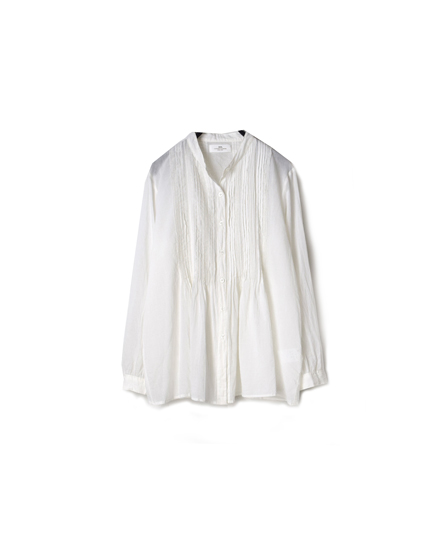 NSL19531 COTTON VOILE BANDED COLLAR PINTUCK SHIRT