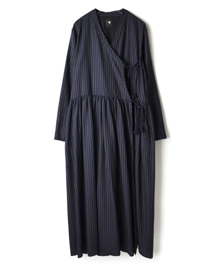 INMDS17814 WOOL/SILK STRIPE CACHE-COEUR DRESS