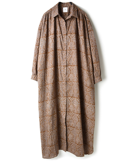 INMDS18632 VOILE BIG TREE PT MAXI SHIRT WTH BELT