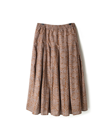 INMDS18634 VOILE BIG TREE PT INVERTED PLEATS SKIRT