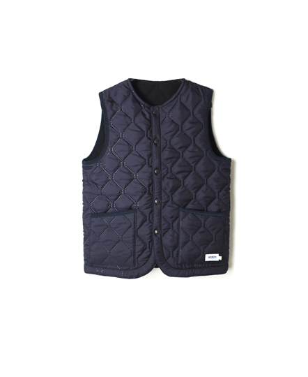 NAM1853 PLAIN x FLEECE HEAT QUILT NO COLLAR VEST