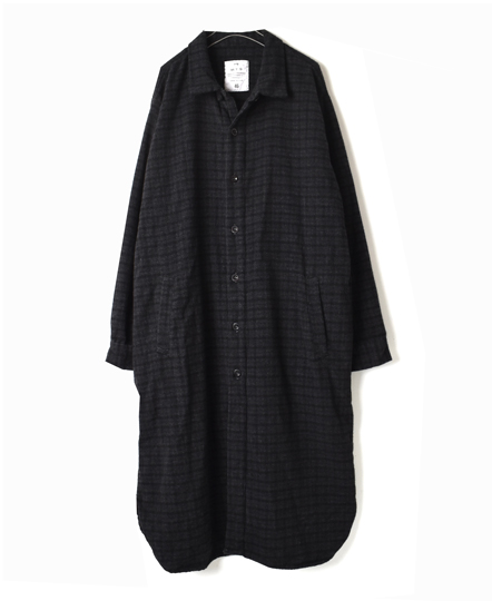 NHT1773WC WOOL CHECK WORK BUTTON LONG SHIRT