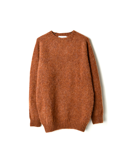 NJT1051 WOOL PLAIN CREW NECK SADDLE SHOULDER P/OV