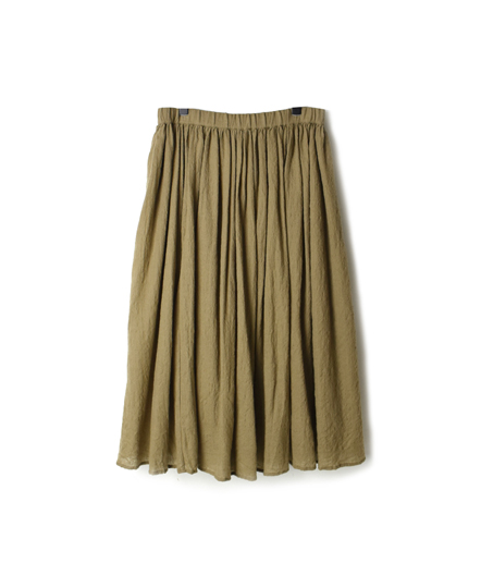 NMDS19555 BOILED WOOL PLAIN GATHERED SKIRT