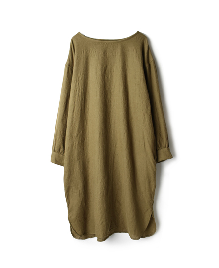 NMDS17502 BOILED WOOL PLAIN BOAT-NECK SHIRT DRESS