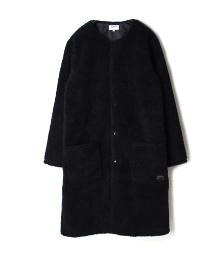 NAM1972Y FLEECE FRONT ZIP&SNAP NO COLLAR LONG COAT