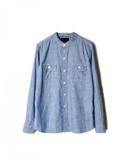 GNMS1603 SELVAGE CHAMBRAY BANDED COLLAR SHIRTS