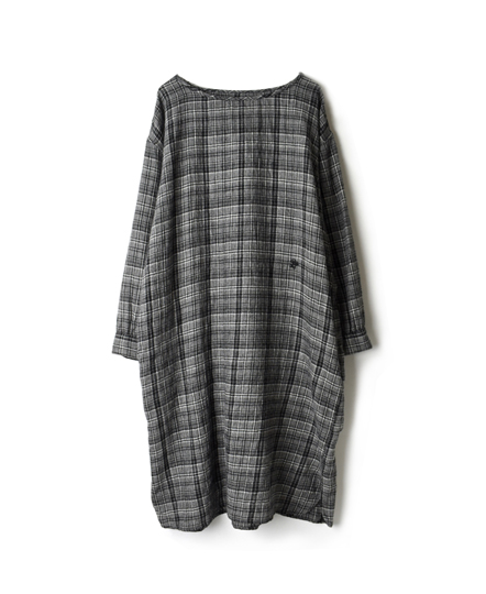 NMDS17512 BOILED WOOL CHECK BOAT-NECK SHIRT DRESS