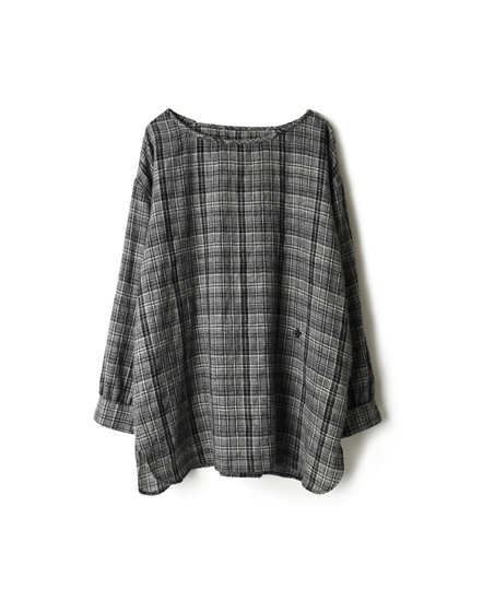 NMDS17511 BOILED WOOL CHECK BOAT-NECK SHIRT